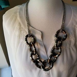 Loft Necklace Bold Silver Tone Bronze Tone Chain